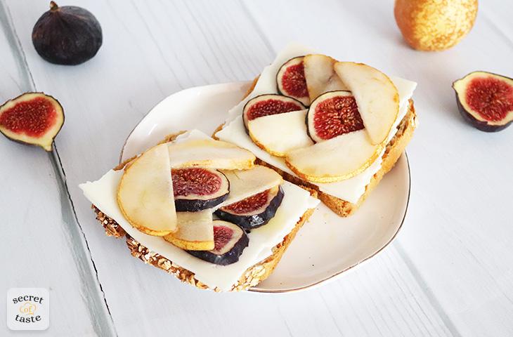 Kanapki z kozim serem, gruszką i figami